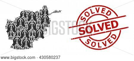 Grunge Solved Stamp, And Pray Hands Collage Of Afghanistan Map. Red Round Stamp Seal Has Solved Capt