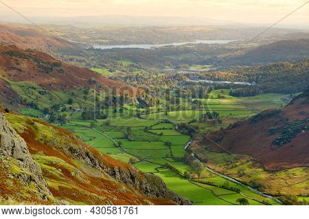 Scenic Aerial Of Great Langdale Valley In The Lake District, Famous For Its Glacial Ribbon Lakes And