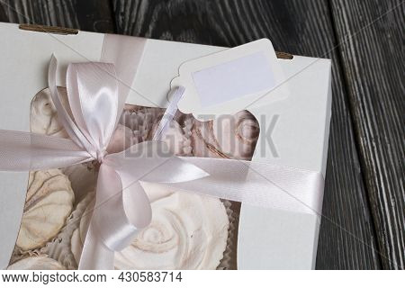 Marshmallow Bouquets In Craft Packaging. Consist Of Marshmallow Roses And Tulips. The Bouquets Lie O
