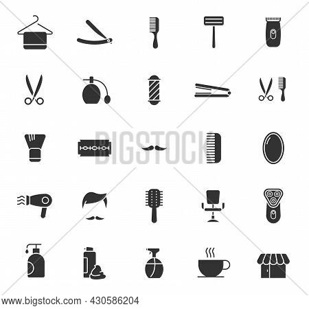 Barber Shop Silhouette Vector Icons Isolated On White. Barber Saloon Icon Set For Web, Mobile Apps,