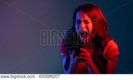 Cyberbullying Banner. Online Harassment. Stress Problem. Internet Victim. Furious Depressed Woman Sc