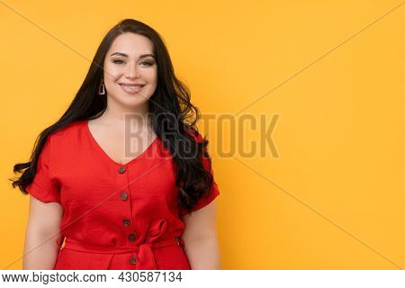 Happy Plus Size Woman. Motivated Person. Body Positive. Advertising Background. Beautiful Happy Chub