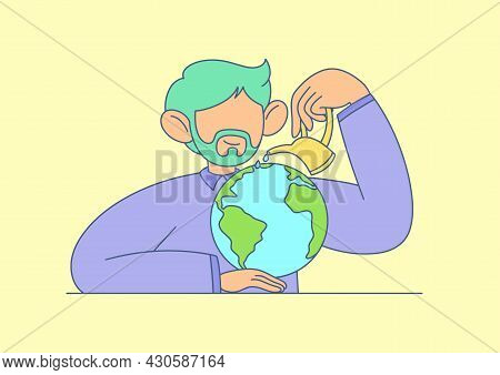 Illustration Of A Man With A Beard Who Takes Care Of The Planet, Watering It. Ecology, Care, Protect