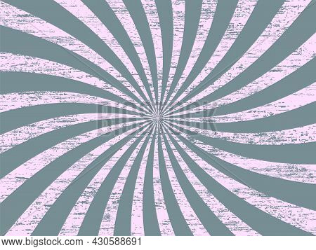 Sunburst Retro Background With Blue Curved, Rays Or Stripes In The Center. Rotating, Spiral Stripes.