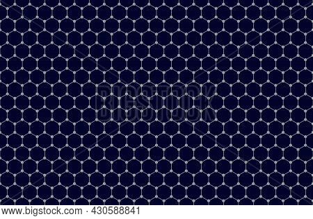 Graphene Seamless Pattern Background. Tile Of Two-dimensional Honeycomb Lattice, Schematic Structure