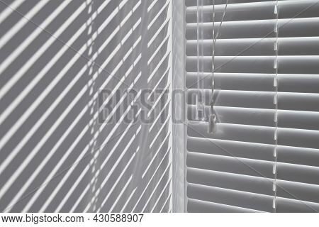 Silhouette Of Window Blinds From Sunlight Texture Background. Abstract Blinds Background Interior Im