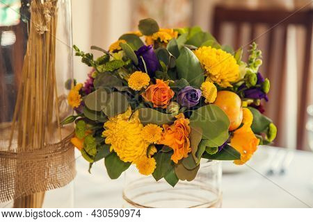 Festive Floristry And Decoration Of Events Floral Arrangements In The Autumn Style.