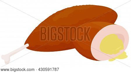 Cartoon Breaded Chicken Kiev Cutlets Half And Whole Isolated On White Background. Traditional Food I