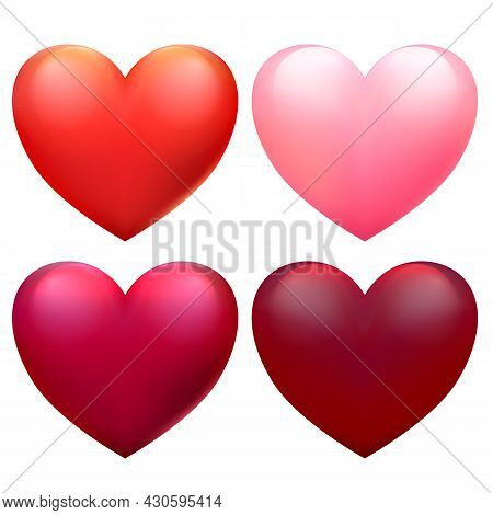 Vector Red Hearts Set For Valentine's Day Cards. Stickers Collection For Mother's Day, 8 March, Woma