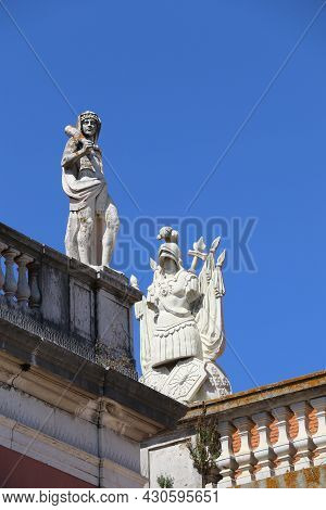 Old Statues On The Top A Building In Lisbon
