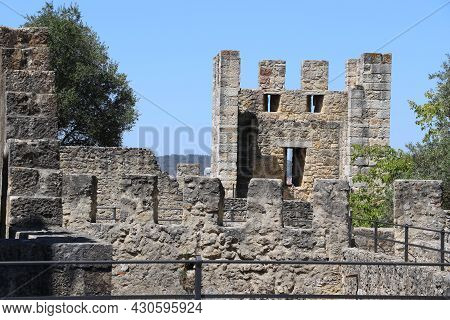 Walls Of The Saint George Castle In The City Of Lisbon