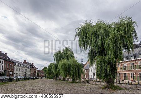 Gent, Flanders, Belgium - July 30, 2021: Kinderrechtenplein (childrens Rights Square) Along The Liev
