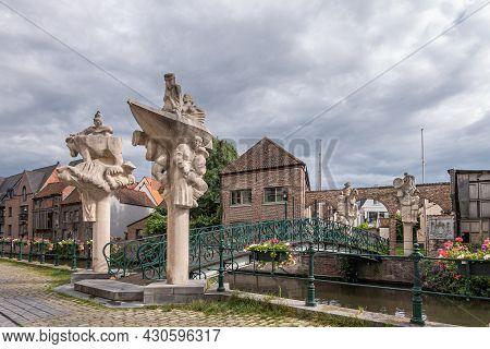 Gent, Flanders, Belgium - July 30, 2021: Brug Der Keizerlijke Geneugten (bridge Of The Emperors Plea