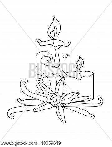 Candles And Vanilla - Aromatherapy, Antistress - Vector Linear Illustration With Zentangles For Colo