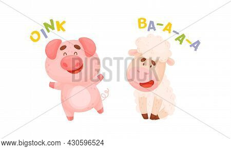 Cute Baby Animals Making Sounds Set. Pig And Sheep Saying Oink And Baa Vector Illustration