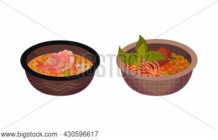 Bowls Of Traditional Asian Food Set. Traditional Chinese, Japan And Thai Cuisine Dishes Vector Illus