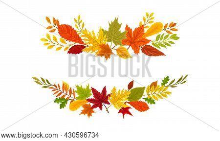 Autumn Colorful Leaves Borders Set. Banner, Poster, Card, Invitation Decoration Element Vector Illus