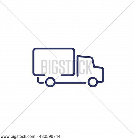 Truck Or Lorry Line Icon On White