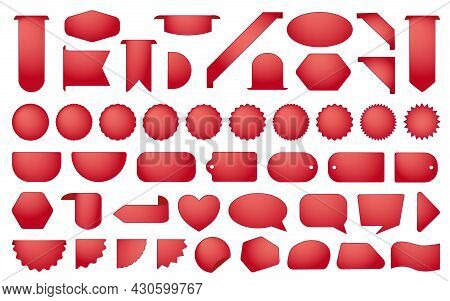 Red Sale Labels Set. Vector Tag, Burst Stamp, Promo Badge, Sticker New Templates. Chat Message Icons