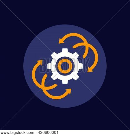 Integration Icon, Gear With Arrows, Flat Vector