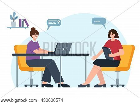 Employment Service. Young Woman Hr Manager With Laptop Hiring Staff. Interview With Job Seekwer In O