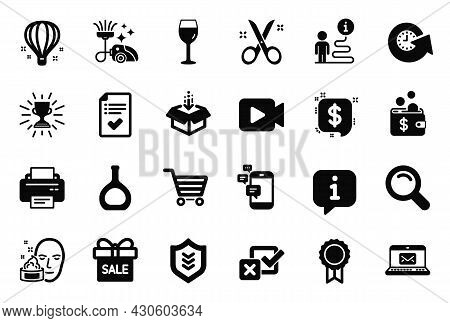 Vector Set Of Simple Icons Related To Vacuum Cleaner, Get Box And Sale Offer Icons. Video Camera, Re