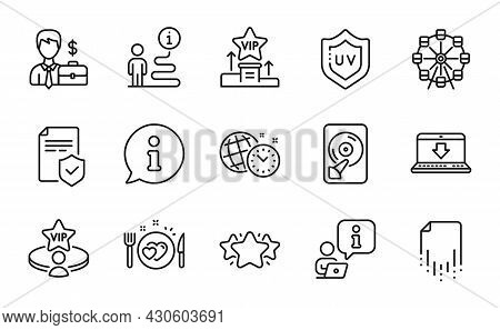 Business Icons Set. Included Icon As Hdd, Recovery File, Businessman Case Signs. Internet Downloadin
