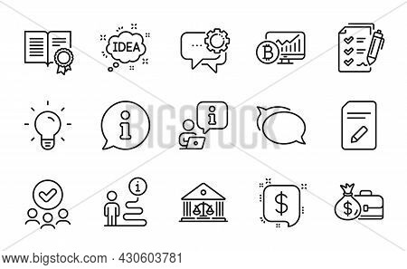 Education Icons Set. Included Icon As Survey Checklist, Bitcoin Chart, Approved Group Signs. Diploma
