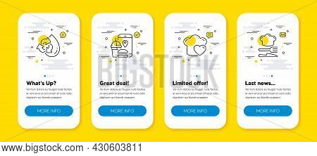 Vector Set Of Food App, Recycle Water And Love Cooking Line Icons Set. Ui Phone App Screens With Lin