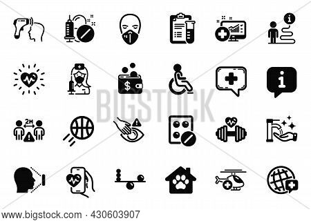 Vector Set Of Healthcare Icons Related To Social Distance, Disabled And Cardio Training Icons. Balan