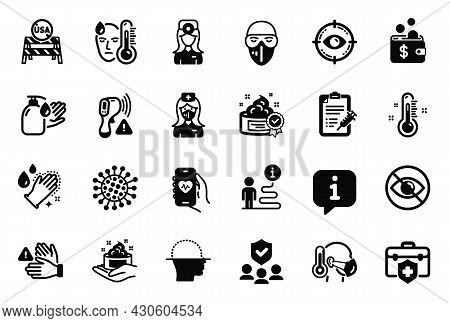 Vector Set Of Medical Icons Related To Dont Touch, Medical Mask And Skin Care Icons. Medical Insuran
