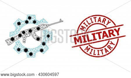 Mesh Weapon Industry Polygonal Icon Vector Illustration, With Black Covid Items. Model Is Created Fr