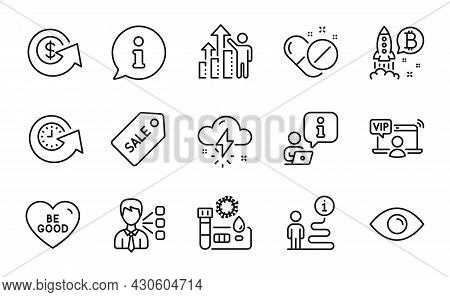 Line Icons Set. Included Icon As Third Party, Dollar Exchange, Eye Signs. Medical Pills, Vip Access,