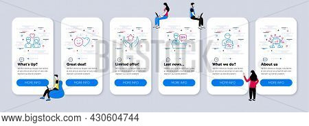 People Icons Set. Ui Phone App Screens With Teamwork. Included Icon As Couple Love, Reception Desk,