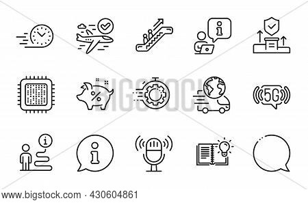 Technology Icons Set. Included Icon As Product Knowledge, Seo Timer, Cpu Processor Signs. Fast Deliv