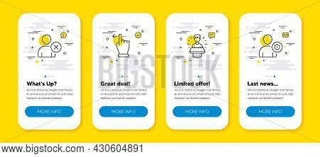 Vector Set Of Delete User, Touchscreen Gesture And Brand Ambassador Line Icons Set. Ui Phone App Scr