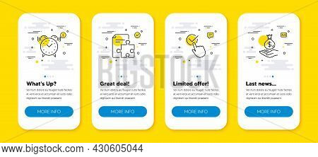 Vector Set Of Strategy, Alarm Clock And Checkbox Line Icons Set. Ui Phone App Screens With Line Icon