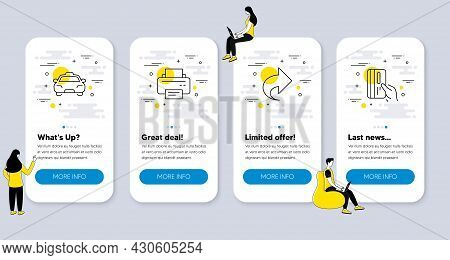 Set Of Line Icons, Such As Printer, Share, Taxi Icons. Ui Phone App Screens With People. Payment Car