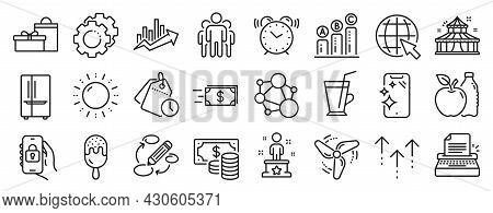 Set Of Business Icons, Such As Locked App, Group, Sun Energy Icons. Keywords, Apple, Swipe Up Signs.