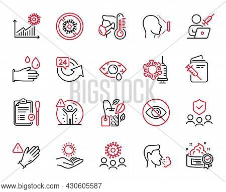 Vector Set Of Medical Icons Related To Vaccination Passport, Nasal Test And Social Distance Icons. C