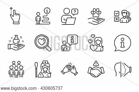People Icons Set. Included Icon As Group People, Love, Search Love Signs. Clapping Hands, Online Que