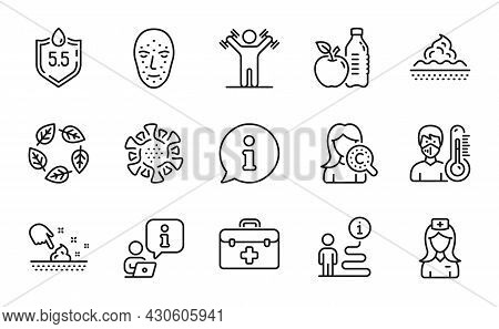 Healthcare Icons Set. Included Icon As Face Biometrics, Dumbbells Workout, Skin Care Signs. Healthy