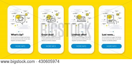 Vector Set Of World Mail, Coffee And Online Accounting Line Icons Set. Ui Phone App Screens With Lin
