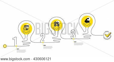 Lightbulb Journey Path Infographics. Gym Infographic Timeline With 3 Steps. Sport Process Diagram Wi