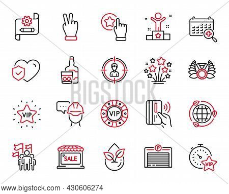 Vector Set Of Business Icons Related To Fireworks Stars, Headhunting And Vip Star Icons. Vip Timer,
