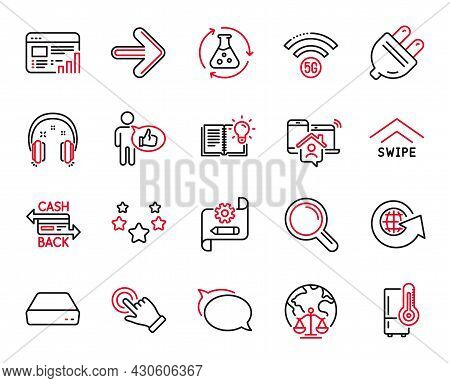 Vector Set Of Technology Icons Related To Research, Touchscreen Gesture And Chemistry Experiment Ico