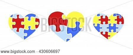 Puzzle Colored Heart. Child Autism Awareness Icon.