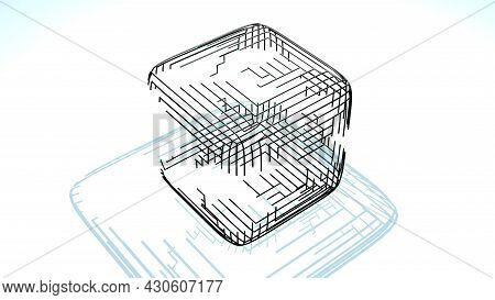 3d Render. Abstract Black Wireframe On White Bg. Ai Growing Geometric Pattern Of Lines Form Cube, Br