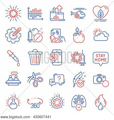 Science Icons Set. Included Icon As Eco Food, Trash Bin, Flammable Fuel Signs. Lungs, Prescription D
