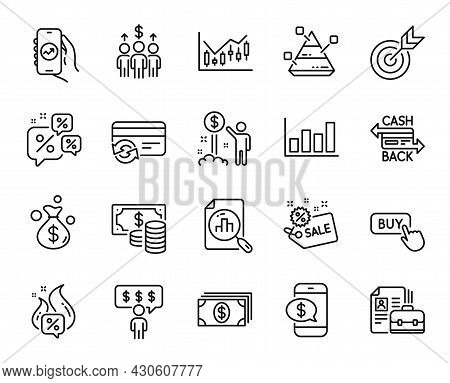 Vector Set Of Meeting, Sale And Financial App Line Icons Set. Income Money, Employee Benefits And Bu